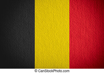 flag of Belgium or Belgian banner on paper background