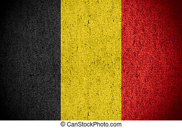 flag of Belgium or Belgian banner on rough pattern texture