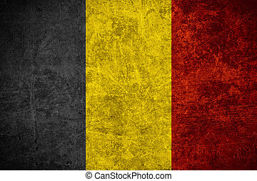 flag of Belgium or Belgian banner on scratched vintage ...