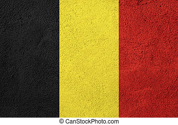 flag of Belgium or Belgian banner on stone background