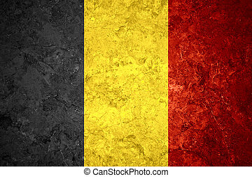 flag of Belgium or Belgian banner on vintage background