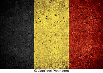 flag of Belgium or Belgian flag on scratched rough texture