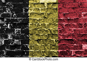 Flag of Belgium painted on brick wall