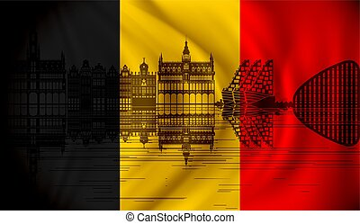 Flag of Belgium with Brussels skyline