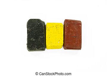 Flag of Belgium with wax crayon