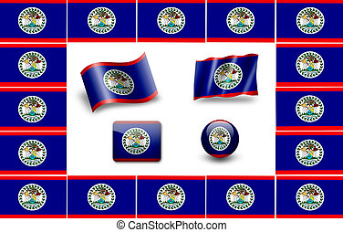 flag of Belize. icon set