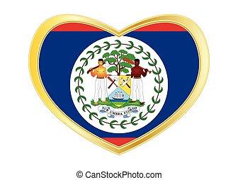 Flag of Belize in heart shape, golden frame