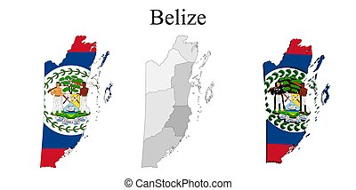 Flag of Belize on map and map with regional division