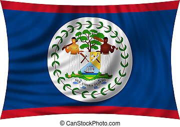 Flag of Belize waving isolated on white