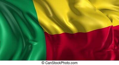 Beautiful 3d animation of the Benin flag in loop mode
