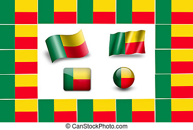 flag of Benin. icon set