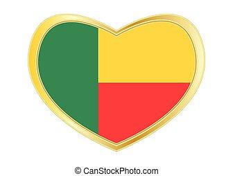 Flag of Benin in heart shape, golden frame