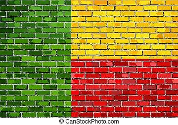 Flag of Benin on a brick wall
