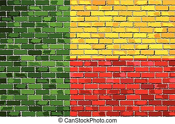 Flag of Benin on a brick wall