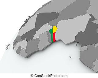 Flag of Benin on grey globe