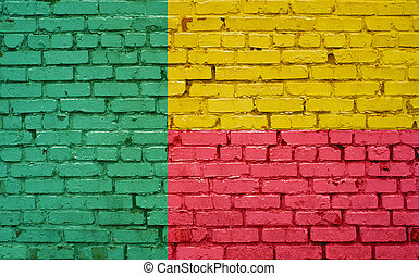 Flag of Benin painted on brick wall, background texture
