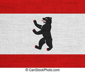 Flag of Berlin on old linen