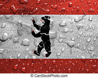 flag of Berlin with rain drops