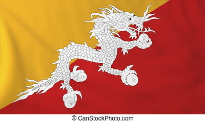 Flag of Bhutan, slow motion waving. Rendered using official...