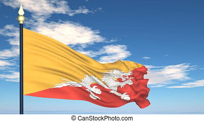 Flag Of Bhutan on the background of the sky and flying...
