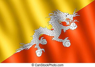 Flag of Bhutan waving in the wind