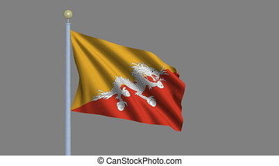 Flag of Bhutan with alpha matte