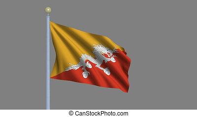 Flag of Bhutan with alpha matte - Flag of Bhutan waving in...