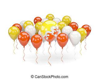 Flag of bhutan with balloons