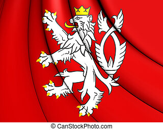 Flag of Bohemia (Coat of Arms), Czech Republic.