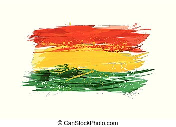 Flag of Bolivia made with colorful splashes. Paint smears, grunge texture.