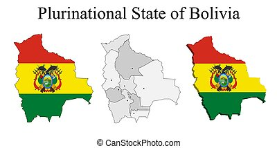 Flag of Bolivia on map and map with regional division
