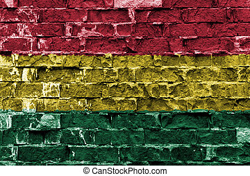 Flag of Bolivia painted on brick wall