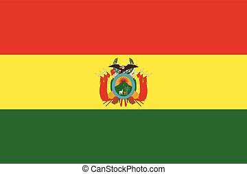Flag of Bolivia with Coat of Arms. Vector Format