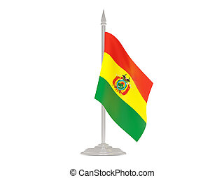 Flag of bolivia with flagpole. 3d render