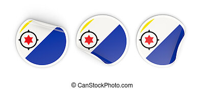 Flag of bonaire, three round labels isolated on white. 3D illustration