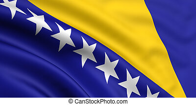3d rendered and waving flag of bosnia and herzegovina