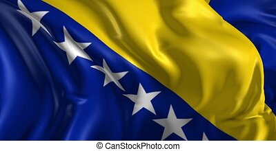 Beautiful 3d animation of the Bosnia and Herzegovina flag in loop mode