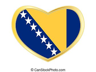 Flag of Bosnia and Herzegovina in heart shape gold - Bosnian...