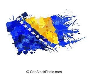 Flag of Bosnia and Herzegovina made of colorful splashes