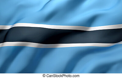 Flag of Botswana blowing in the wind