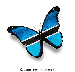 Flag of Botswana butterfly, isolated on white