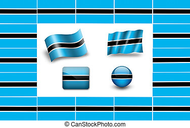 flag of Botswana. icon set