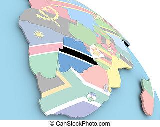 Flag of Botswana on globe
