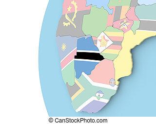 Flag of Botswana on political globe