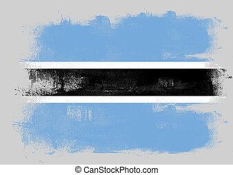 Flag of Botswana painted with brush