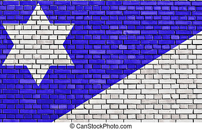 flag of Branch Davidians painted on brick wall