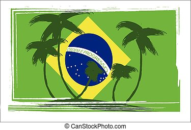 Flag of Brasil design with hand drawn palm trees