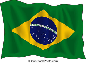 Flag of Brasil - Waving flag of Brazil isolated on white