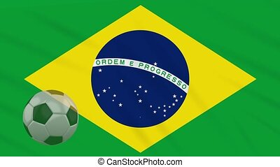 Flag of Brazil and soccer ball rotates against backdrop of waving cloth