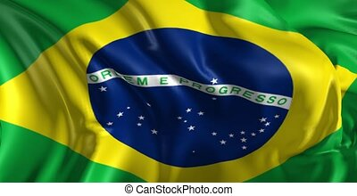 Beautiful 3d animation of Brazil flag in loop mode